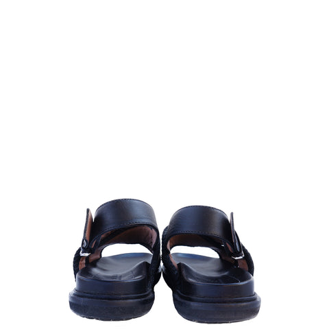 MARNI BLACK AND BEIGE CANVAS CRISS CROSS SANDALS  Shop the best value on authentic designer resale consignment on Leef Luxury.