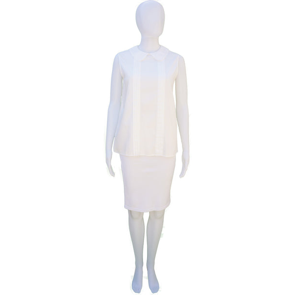 MIU MIU WHITE SLEEVELESS BIB NECK TOP