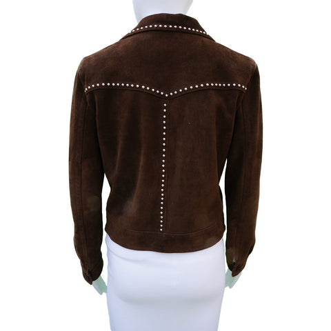 SAINT LAURENT BROWN SUEDE STUDDED JACKET - leefluxury.com