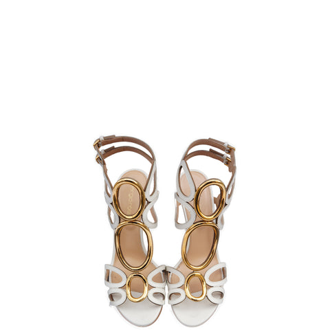 SERGIO ROSSI WHITE LEATHER CUTOUT & GOLD ACCENTS SANDALS - leefluxury.com