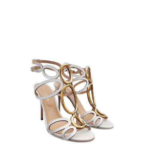 SERGIO ROSSI WHITE LEATHER CUTOUT & GOLD ACCENTS SANDALS  Shop the best value on authentic designer resale consignment on Leef Luxury