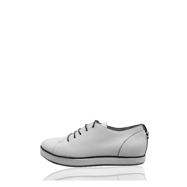 GIORGIO ARMANI CREAM GRAINED LEATHER LOW-TOP SNEAKERS