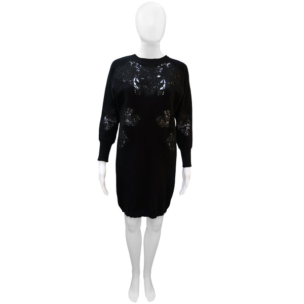 STELLA MCCARTNEY LACE APPLIQUE  LONG BLACK SWEATER TUNIC
