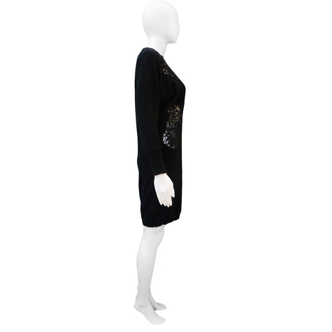 STELLA MCCARTNEY LACE APPLIQUE  LONG BLACK SWEATER TUNIC on Leef luxury authentic designer resale consignment