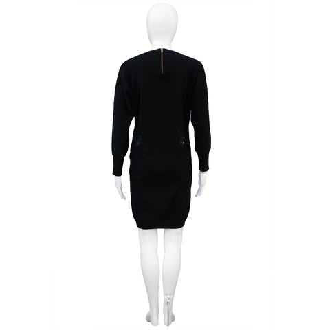 STELLA MCCARTNEY LACE APPLIQUE  LONG BLACK SWEATER TUNIC - leefluxury.com