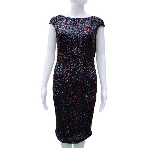 THEIA BURGUNDY SEQUIN DRESS Shop the best value on authentic designer used preowned consignment on Leef Luxury