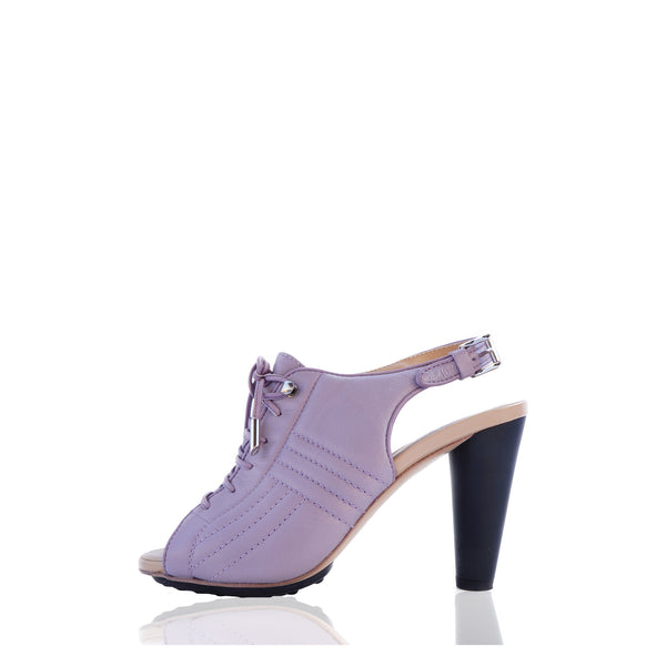 TOD'S QUILTED LILAC LACE-UP SANDALS