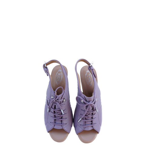 TOD'S QUILTED LILAC LACE-UP SANDALS - leefluxury.com