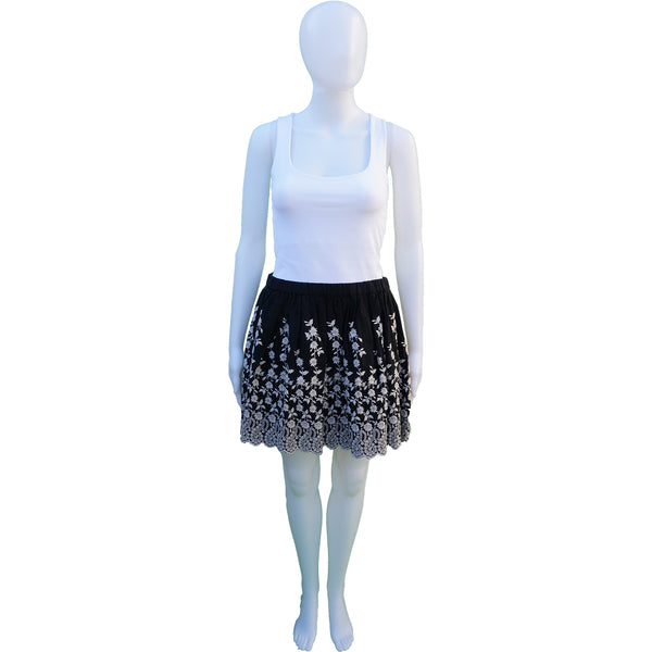 ULLA JOHNSON BLACK AND CREAM FLORAL EMBROIDERED MINI SKIRT