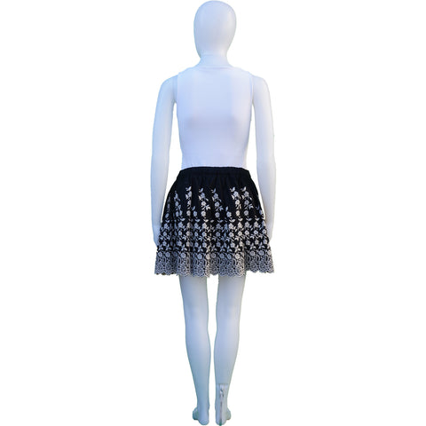ULLA JOHNSON BLACK AND CREAM FLORAL EMBROIDERED MINI SKIRT Shop the best value on authentic designer resale consignment on Leef Luxury.