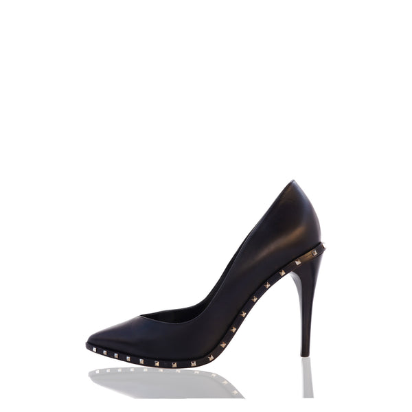 VALENTINO ROCKSTUD BLACK LEATHER PUMPS