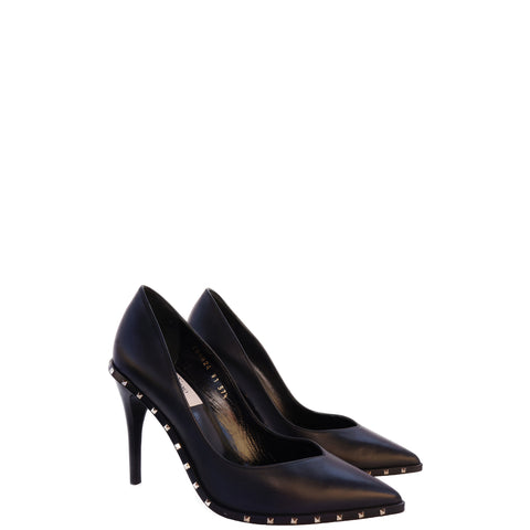 VALENTINO ROCKSTUD BLACK LEATHER PUMPS - leefluxury.com