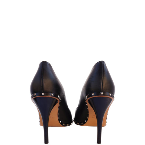 VALENTINO ROCKSTUD BLACK LEATHER PUMPS Shop the best value on authentic designer resale consignment on Leef Luxury