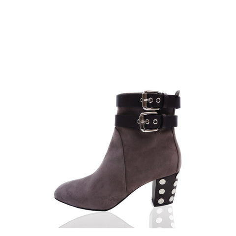 GIUSEPPE ZANOTTI STUD-EMBELLISHED TAUPE SUEDE BOOTIES  Shop online the best value on authentic designer used preowned consignment on Leef Luxury.