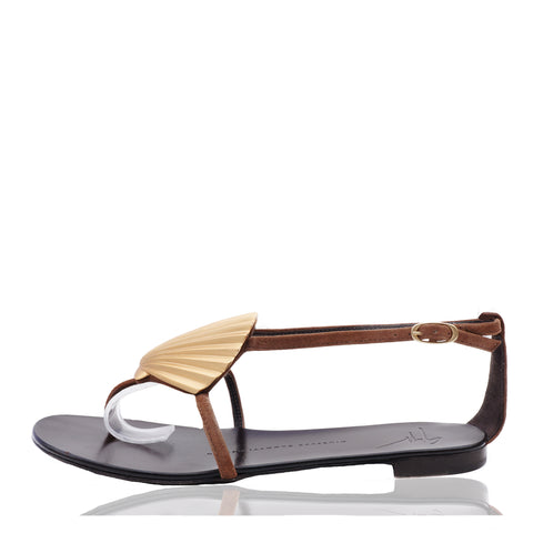 GIUSEPPE ZANOTTI BROWN SUEDE GOLD SHELL SANDALS - leefluxury.com