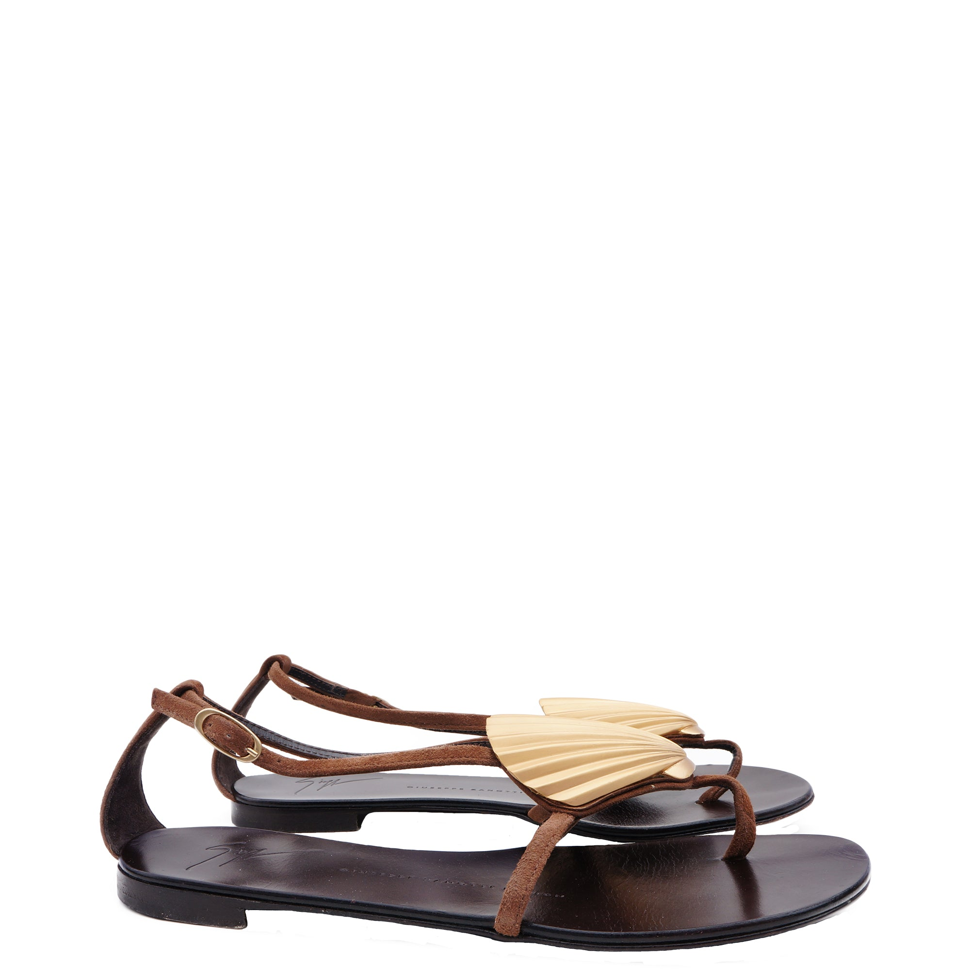 e9165957c6872 ... canada giuseppe zanotti brown suede gold shell sandals shop the best  value on authentic designer used