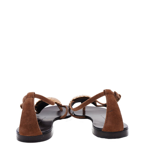 GIUSEPPE ZANOTTI BROWN SUEDE GOLD SHELL SANDALS Shop the best value on authentic designer used preowned consignment on Leef Luxury