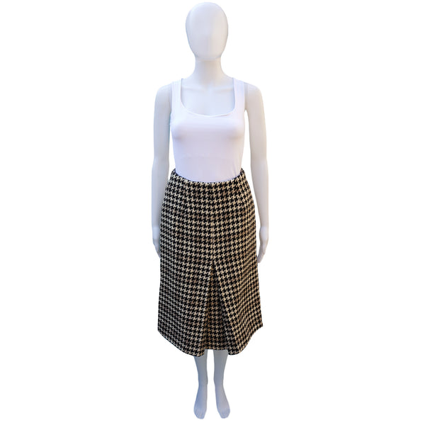 HOUNDSTOOTH CHECK WOOL SLIT FRONT SKIRT