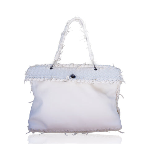 BOTTEGA VENETA IVORY LEATHER INTRECCIATO TRIM FRAME BAG Shop the best value on authentic designer used preowned consignment on Leef Luxury