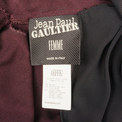 JEAN PAUL GAULTIER VELVET & LEATHER T BACK DRESS Shop the best value on authentic designer resale consignment on Leef Luxury.