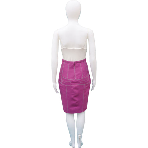 PROENZA SCHOULER RASPBERRY COTTON TWILL PENCIL SKIRT