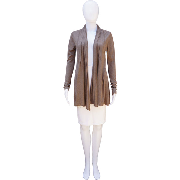 LINE TAUPE CASHMERE BLEND OPEN KNIT CARDIGAN