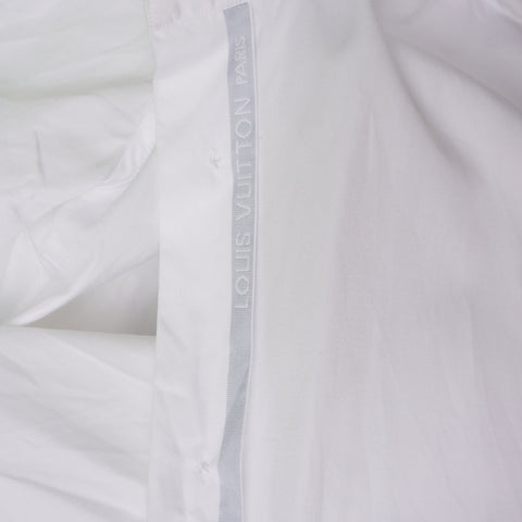 LOUIS VUITTON WHITE COTTON ROUND CUFF DRESS SHIRT Shop online the best value on authentic designer used preowned consignment on Leef Luxury.
