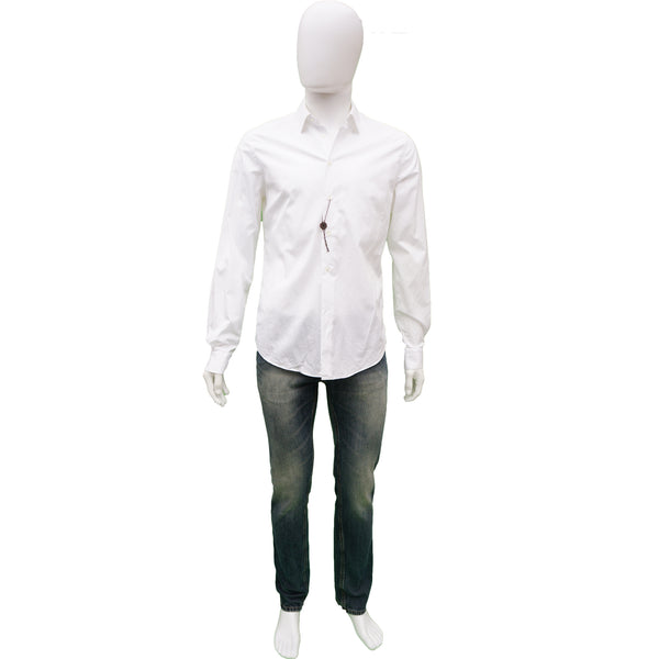 LOUIS VUITTON WHITE COTTON ROUND CUFF DRESS SHIRT