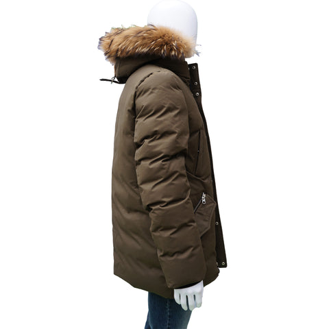 MACKAGE OLIVE GREEN DETACHABLE FUR TRIM PARKA PUFFER COAT - leefluxury.com