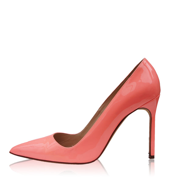 MANOLO BLAHNIK BB CORAL PATENT LEATHER PUMP
