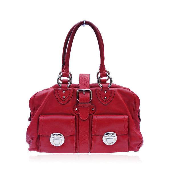 MARC JACOBS RED LEATHER SATCHEL SHOULDER BAG