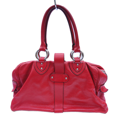 MARC JACOBS RED LEATHER SATCHEL SHOULDER BAG Shop online the best value on authentic designer used resale preowned consignment on Leef Luxury.