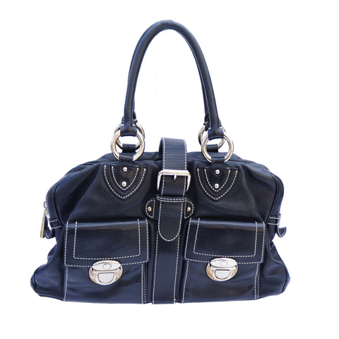 MARC JACOBS BLACK LEATHER SHOULDER BAG - leefluxury.com