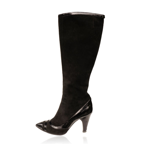 MARC BY MARC JACOBS SUEDE PATENT LEATHER TRIM KNEE  HIGHT BOOTS