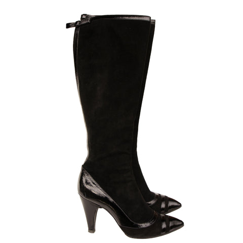MARC BY MARC JACOBS SUEDE PATENT LEATHER TRIM KNEE  HIGHT BOOTS - leefluxury.com