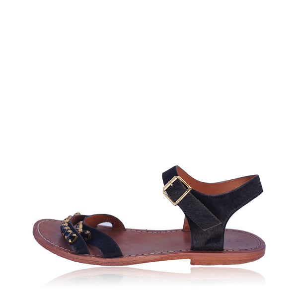 MARNI CRYSTAL FLAT LEATHER AND PONYHAIR SANDAL