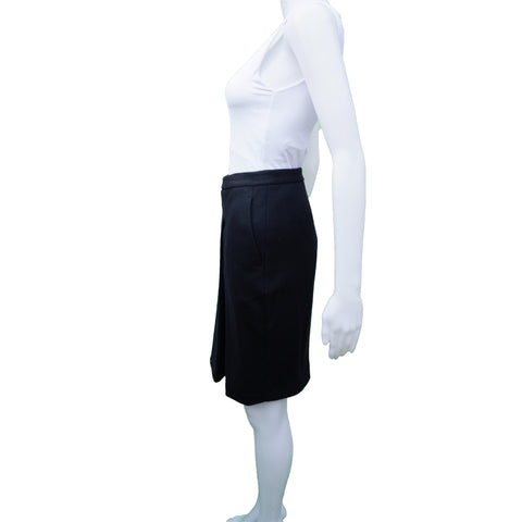 MAXMARA NAVY WOOL SKIRT - leefluxury.com