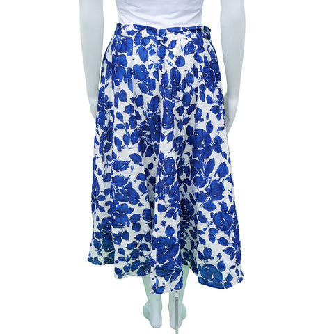 WEEKEND MAXMARA BLUE WHITE FLORAL MIDI SKIRT Shop online the best value on authentic designer used resale preowned consignment Toronto on Leef Luxury.