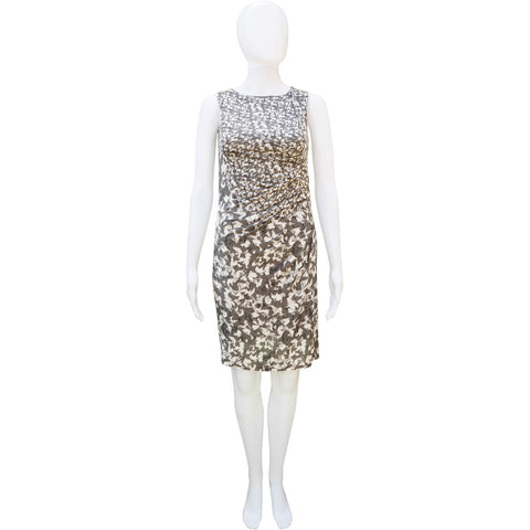 MAXMARA GATHERED GRAPHIC PRINTED SHEATH DRESS - leefluxury.com