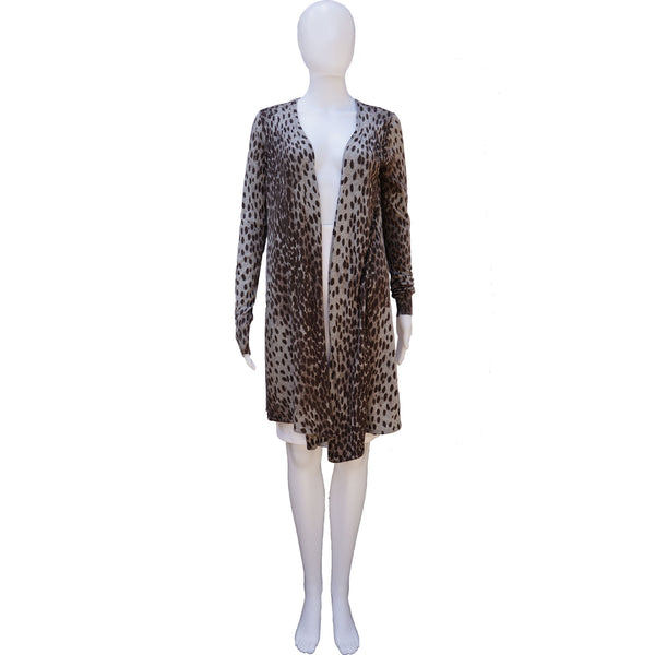 REBECCA TAYLOR ANIMAL PRINT CASHMERE BLEND OPEN KNIT CARDIGAN