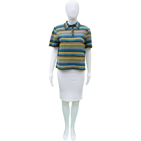 MISSONI POLO STYLE BOXY KNIT TOP - leefluxury.com