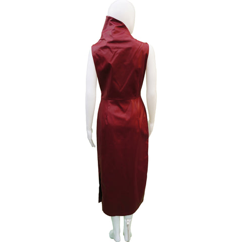 MISURA BURGUNDY FAUX LEATHER STRETCH DRESSS - leefluxury.com