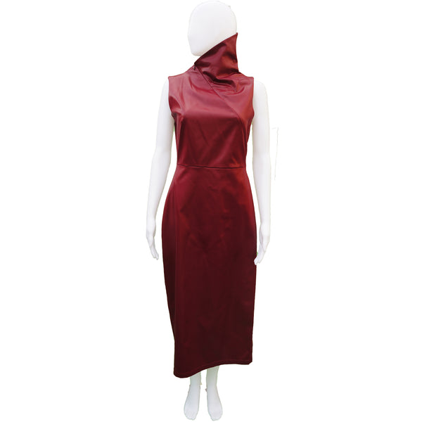 MISURA BURGUNDY FAUX LEATHER STRETCH DRESSS