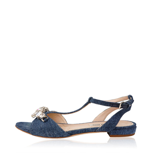 MIU MIU CRYSTAL EMBELLISHED DENIM SANDALS