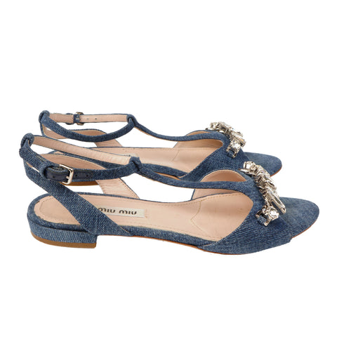 MIU MIU CRYSTAL EMBELLISHED DENIM SANDALS - leefluxury.com