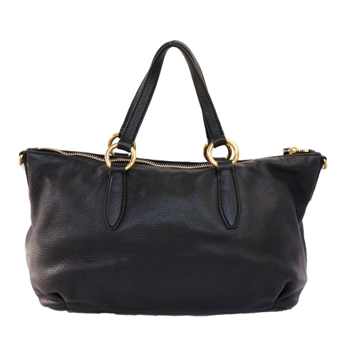 MIU MIU VITELLO LEATHER BLACK SATCHEL BAG - leefluxury.com
