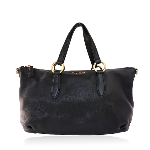 MIU MIU VITELLO LEATHER BLACK SATCHEL BAG