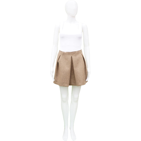 MIU MIU OATMEAL WOOL PLEATED MINI SKIRT  Shop online the best value on authentic designer used preowned consignment on Leef Luxury.