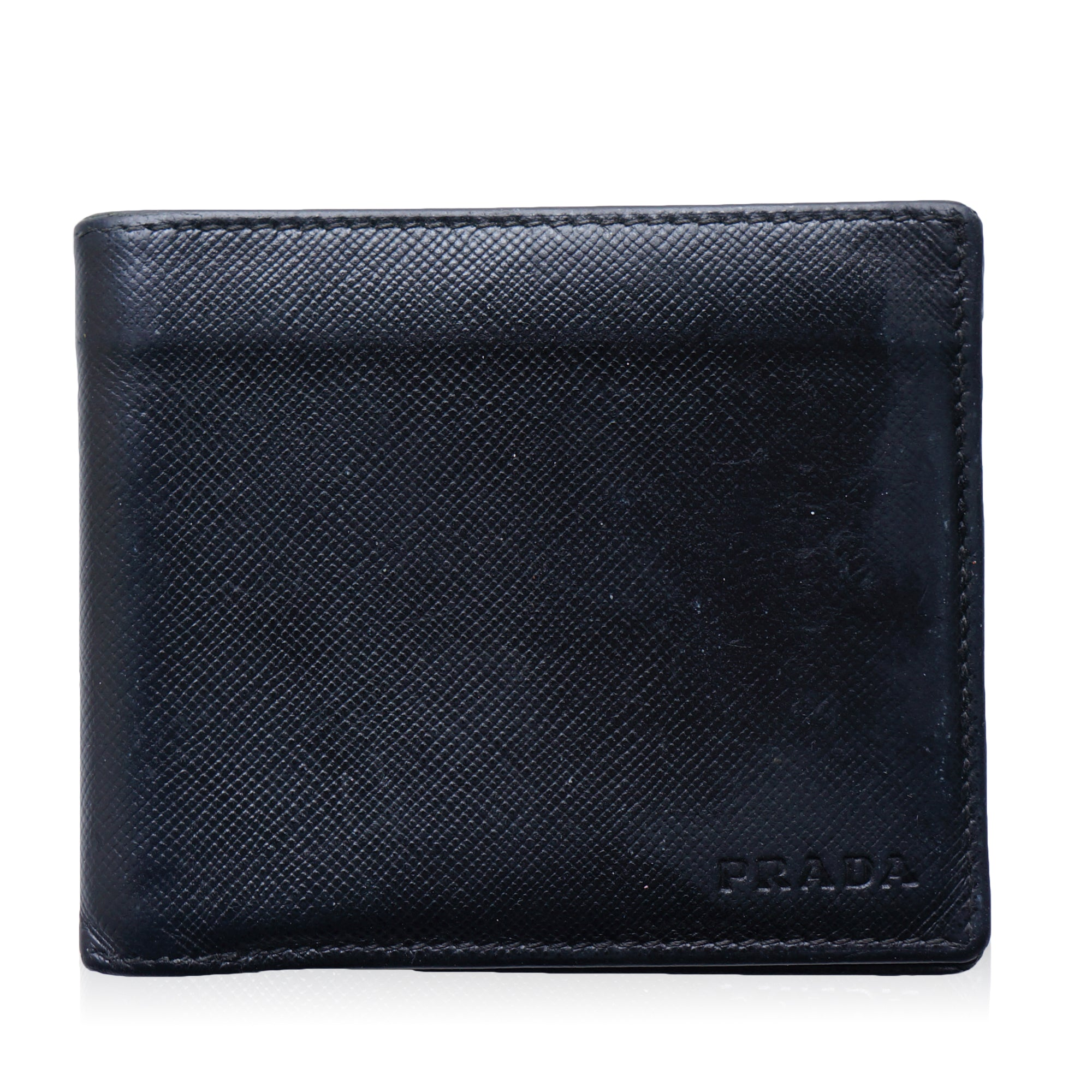 8fe952570225 PRADA SAFFIANO BIFOLD LEATHER WALLET Shop online the best value on  authentic designer used preowned consignment ...