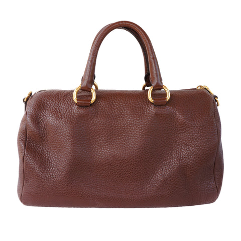 PRADA VITELLO DAINO BAULETTO LEATHER SATCHEL BAG - leefluxury.com
